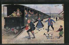 carte postale ancienne: CPA Illustrateur Hans Boettcher: Auf de schwäbische chemin de fere, Menschen rennen zum train mit aufgespiesstem Ziegenkopf