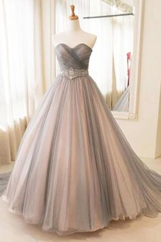 Sweetheart grey tulle beaded sash long A-line train prom dress, bridal dress