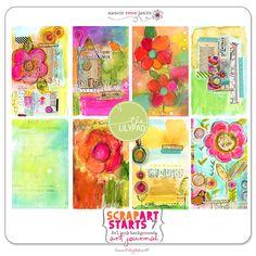 ScrapArt Starts 7 Art Journal Backgrounds