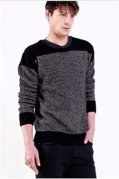 Something for the boys | Nique Coda Knit #menswear #winter #jumper #twotone #fashion #hermanstore