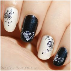 Orly Au Champagne + Skin Food Nail Vita Crystal Pearl Top Coat + The Face Shop FACE it BK901 + water decals #nails #nailart