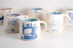 You Sew GIrl Wheel Thrown Coffee Mug 14 oz via Etsy (TakeMeHomeware)