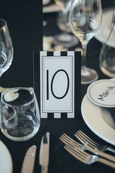 Table Number Card Wedding Black White