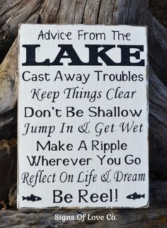Lake Signs Advice From A Lake Sign Lake House Decor Wood Plaque Wall Art Carova Beach Crafts