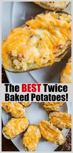 The BEST twice baked potatoes! A couple of secret ingredients make these absolutely scrumptious! Best Twice Baked Potatoes, Easy Baked Potato, Baked Potato Recipes, Side Dish Recipes, New Recipes, Cooking Recipes, Favorite Recipes, Healthy Recipes, Side Dishes