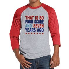 {Now Available} New product: Men's 4th of July.... Check it out here! http://7ate9apparel.com/products/mens-4th-of-july-shirt-four-score-and-seven-years-ago-shirt-red-raglan-shirt-mens-patriotic-shirt-funny-fourth-of-july-shirt?utm_campaign=social_autopilot&utm_source=pin&utm_medium=pin