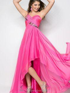 A-line One-shoulder Hot Pink Chiffon High Low Prom Dress /Formal Dress/Evening dress 9629