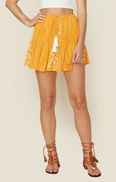 """<p class=""""product-desc-body"""">The Indah Pai Mini Skirt features a drawstring waist and pleated details for a relaxed, breezy fit.</p>  </p><ul class=""""product-desc-list""""><li>Made in Indonesia</li><li>Dry Clean Only</li><li>100% Rayon</li></ul><p class=""""product-desc-head"""">Fit Guide:</p><ul  class=""""product-desc-list""""><li>Model is 5ft 9 inches; Bust: 32"""", Waist: 24"""", Hips: 34""""</li><li>Model is wearing a size XS</li><li>Relaxed Fit</li><li>Shoes Featured Not Available For Purchase</li></ul>"""