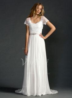Wedding Dresses - $144.54 - A-Line/Princess Scoop Neck Sweep Train Chiffon Wedding Dress With Lace Beading Flower(s) (0025060288)