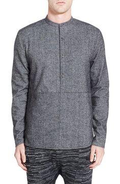 Strand 'Orson' Trim Twill Band Collar Shirt