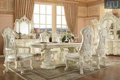 Meja Makan Jakarta Mewah Produksi Jepara White Dining Room Sets, White Dining Table, Rectangle Dining Table, Luxury Dining Room, Dining Arm Chair, Side Chair, Dining Set, Luxury Furniture, Furniture Design