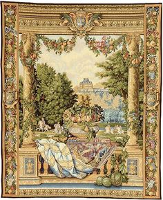 "- Charles Le Brun commissioned 12 wonderful tapestries from La Manufacture des Gobelins which depicted the various Royal Houses belonging to King Louis XIV. They can now be seen in the Museum of Pau ./tcc/  Jacquard woven in Belgium Backed with lining Rod tunnel for easy hanging Cotton and Wool Blend Available in 1 size W 26"" x  H 33"" ./tcc/"