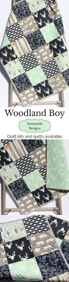 Baby Quilt Boy Mint Green Navy Blue Grey Gray Elk Deer Woodlands Birch Forest Buck Blanket Bear Aztec Crib Bedding Children Baby Toddler Nursery Bedding Boy Baby Quilt Kit Throw Quilt Kit Twin Quilt Kit Woodland Theme Gifts for Him Special Nursery Gift Baby Boy Blanket Handmade Quilt by Sunnyside Designs