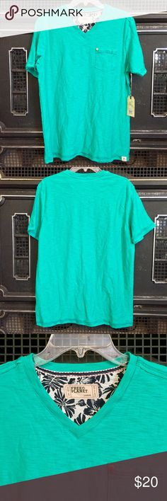 """🆕 Men's V-neck tee NWOT 100% cotton v-neck Tee from brand Free Planet! Has the feel of soft, brushed linen. Size large. Color is called """"Jade Green"""" and to my eyes it is just a touch lighter than an Irish Kelly green, but still perfect for a casual St. Patrick's day. Free Planet Shirts Tees - Short Sleeve"""