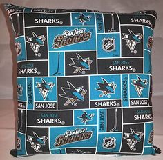 """Sharks Pillow San Jose Sharks Pillow NHL Handmade in USA Pillow is approximately 10"""" X 11"""". THE PILLOW WOULD MAKE GREAT GIFT FOR BIRTHDAYS,HOLIDAYS, NAP TIME, CAR RIDES, HOSPITAL STAYS, DAY CARES & MORE. ~BRAND NEW~ ~HANDMADE~ San Jose Sharks This Cuddly Cotton/Flannel Pillow is approximately 10"""" X 11"""" Also perfect for nap time, car seat, traveling, stroller rides, kids & teens rooms It is stuffed with 100% Hypo-Allergenic Premium Polyester Fiber-Filled The fabric is Not the same on both..."""
