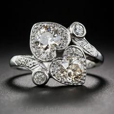 Twin Heart Antique Platinum Diamond Ring