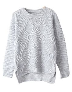 Enlishop Women Casual Cable Knit Loose Crew Neck Pullover Sweater Jumper Grey -- Click image for more details.