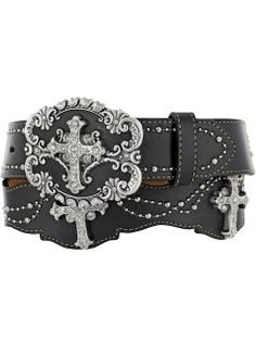 Justin Women's Dangling Cross Belt C20843 Black-Silver #belts