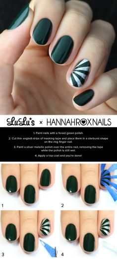 Green and Silver Starburst Nail Tutorial - 12 Party Perfect Beauty Tutorials That'll Make You Sparkle | GleamItUp