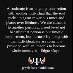 """this is not an EC reading. whose? EC 1556-2: 42. (Q) Please explain for me what is meant by """"soul-mate"""" in relation to my own spiritual development. (A) Those of any sect or group where there is the answering of one to another; as would be the tongue to the groove, the tenon to the mortise; or in any such where they are a complement one of another - that is what is meant by """"soul-mate."""" Not that as from physical attraction, but from the mental and spiritual help."""