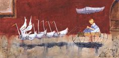 Swans pulling girl in cart. By Lee White. Original Artwork, Original Paintings, Superflat, Lee White, Children's Picture Books, Wall Decor, Wall Art, Photos, Pictures