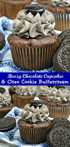 A good cupcake recipe is a must have. Kick the box mix to the curb, and make an adult version of the favorite dessert with these Boozy Chocolate Coffee Cupcakes with Oreo Cookie Buttercream. Chocolate, vanilla liqueur & coffee infused cupcakes are topped with an Oreo cookie and cream butter cream frosting. It's the perfect adult flavored dessert. #chocolate #coffee #cupcake #oreo #cookie #buttercream