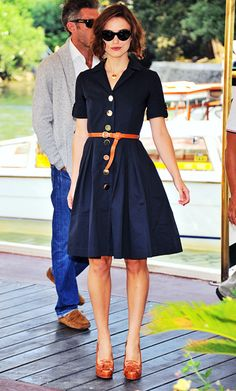 Orla Kiely Resort 2012 navy shirt dress with gold buttons