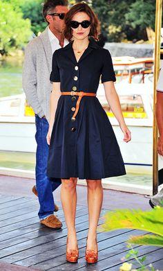 Kiera Knightly in Orla Kiely shirt dress and Ralph Lauren loafer heels