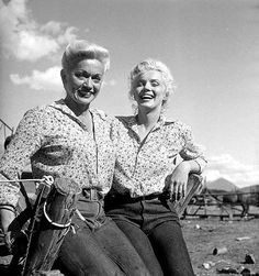 Marilyn Monroe and her stand-in on the set of River of No Return.