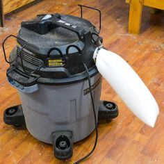 Sock you shop-vac: is instantly prevents the vac from blowing dust all over the workshop and helps keep dust out of the air. #woodworking #tools #lifehacks