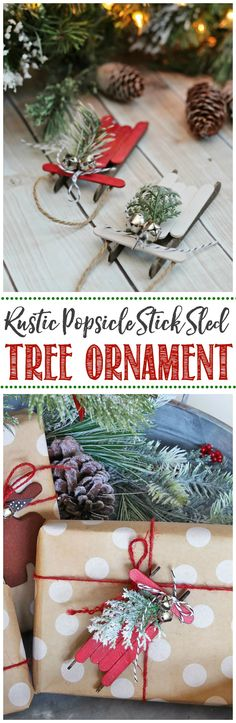 Handmade Christmas Ornaments - Popsicle Stick Sleds, DIY and Crafts, These rustic popsicle stick sleds are so pretty. They& an easy DIY Christmas tree ornament that and are so much fun to make! Christmas Tree Painting, Painted Christmas Ornaments, Christmas Crafts For Kids, Diy Christmas Ornaments, Christmas Tag, Rustic Christmas, Christmas Projects, Handmade Christmas, Holiday Crafts
