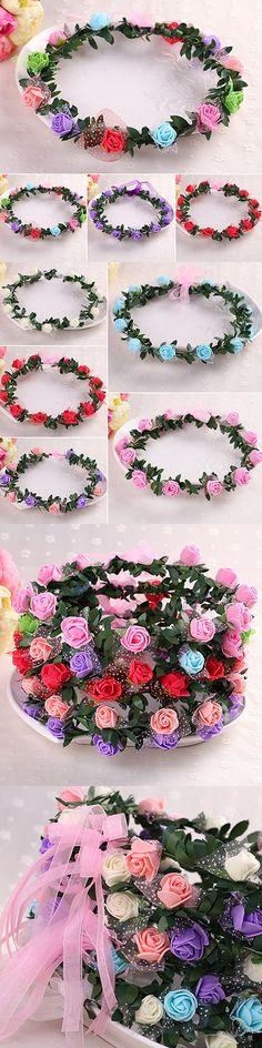 New Rose Flower Crown Headband Wreath Party Wedding Bridal Garland Hairband Headwear