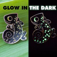 Black Starmeleon Glow In The Dark Enamel Pin by DrMagnets on Etsy