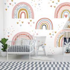 Kids Room Murals, Bedroom Murals, Girls Bedroom Mural, Wall Murals, Bedroom Decor, Rainbow Bedroom, Rainbow Nursery, Indoor Playroom, Wallpaper Uk