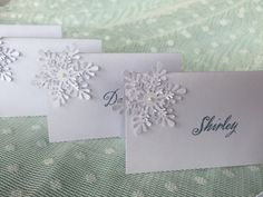 WINTER  Snow  Frozen  Place Cards Escort Cards by PinkCherryMama