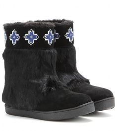 Tory Burch Lafayette embroidered suede boots with fur, In classic black, Tory Burch preps us for winter with these embroidered suede boots. Coated with soft fur, they're a bohemian choice for cold days. The shearling lining promises to keep you snug no matter what the temperature.