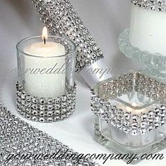 Diamond wrap is a sparkling, bendable ribbon perfect for wrapping around wedding bouquet handles, favor boxes, candles and vases. Makes gorgeous centerpiece accents. Wedding decorations - event decorations - party supplies www. Bling Centerpiece, Wedding Centerpieces, Wedding Bouquets, Bling Wedding Decorations, Diamond Decorations, Bottle Centerpieces, Reception Decorations, Wedding Cakes, Wedding Flowers