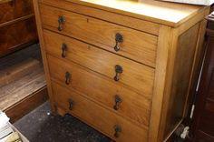 Late century golden oak chest of four graduated drawers Golden Oak, Dresser, Drawers, Furniture, Home Decor, Powder Room, Decoration Home, Room Decor, Set Of Drawers