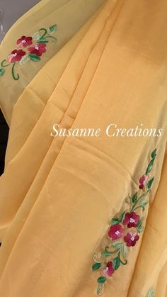 Cushion Embroidery, Simple Embroidery, Embroidery Suits, Embroidery Applique, Embroidery Stitches, Machine Embroidery, Embroidery Designs, Fabric Painting, Saree Blouse