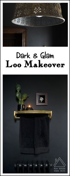 Black Gold Dark Glam Loo Powder Room Half Bath Bathroom Makeover Reveal
