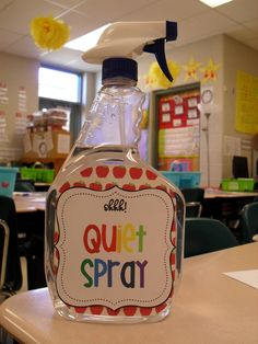 Quiet Spray: You spray the ROOM to signal children to get quiet. Or you can just leave the bottle empty. Mine love the mist in the air. It is so funny! {I do not condone spraying a child! As much as you might want to! Ha! ;)}-- an original idea from the Lemonade Stand...