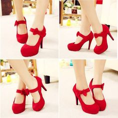 Graceful Red Bowknot Suede Round Closed Toe Stiletto Super High Heel Mary Jane Pumps - Heels