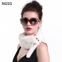 Real mink fur scarf collar women simple anime animal solid white head neck warm fur mink scarves erchief for girl's gift #Affiliate