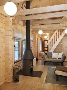 Kuvagalleria - Kontio Hirsitalot ja Hirsihuvilat Modern Cabin Interior, Interior Ideas, House In The Woods, Cottage Style, Home Deco, Foyer, Pergola, Backyard, Cozy