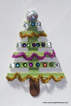 Christmas Tree out of Popsicle Sticks - Great Crafts for Kids
