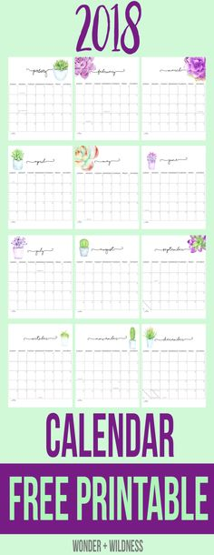 Free 2018 Printable Calendar - pretty calendar with succulent flowers on each month