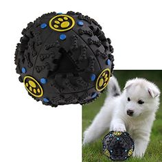 Pet Dog Cat Play Squeaky Squeaker Quack Sound Chew Treat Holder Funny Ball Toy For pet Christmas Gift -All U Need >>> Continue to the product at the image link.