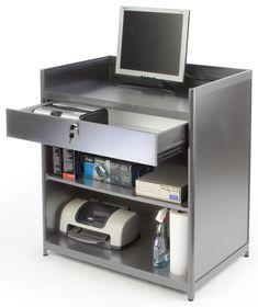 """36"""" Cash Register Stand w/Locking Drawer, Adjustable Shelf, Ships Assembled - Black"""
