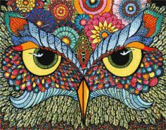 Owl face abstract cross stitch kit | Yiotas XStitch