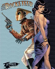 Rocketeer and Bettie Page by Dave Stevens Arte Art Comic Book Characters, Comic Character, Comic Books Art, Comic Art, Science Fiction Art, Pulp Fiction, Dave Stevens, Creation Art, Bettie Page